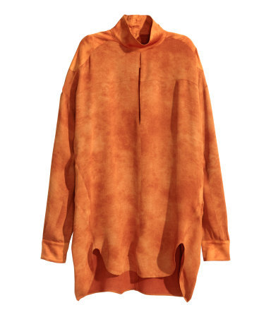 Blouse With A Stand Up Collar - pattern: plain; neckline: high neck; length: below the bottom; style: blouse; predominant colour: bright orange; occasions: casual, creative work; fit: loose; back detail: longer hem at back than at front; sleeve length: long sleeve; sleeve style: standard; texture group: crepes; pattern type: fabric; season: a/w 2015; wardrobe: highlight