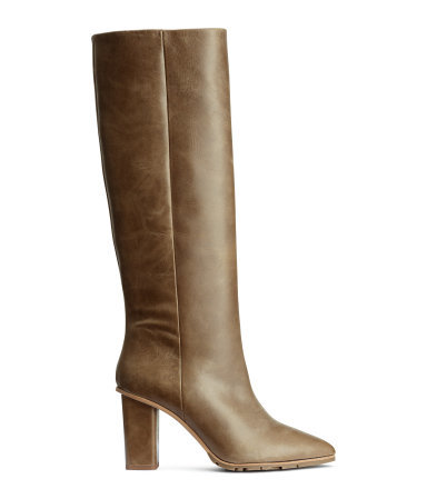 Knee High Leather Boots - predominant colour: khaki; occasions: casual, creative work; material: leather; heel height: high; heel: block; toe: pointed toe; boot length: knee; style: standard; finish: plain; pattern: plain; shoe detail: tread; season: a/w 2015; wardrobe: investment