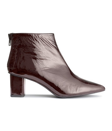 Patent Leather Ankle Boots - predominant colour: chocolate brown; occasions: casual, creative work; material: leather; heel height: mid; heel: block; toe: pointed toe; boot length: ankle boot; style: standard; finish: patent; pattern: plain; season: a/w 2015; wardrobe: basic