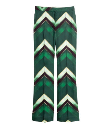 Flared Twill Trousers - length: standard; waist: mid/regular rise; predominant colour: dark green; secondary colour: chocolate brown; occasions: casual, creative work; fibres: viscose/rayon - 100%; fit: straight leg; pattern type: fabric; pattern: patterned/print; texture group: other - light to midweight; style: standard; pattern size: big & busy (bottom); multicoloured: multicoloured; season: a/w 2015; trends: crazy prints; wardrobe: highlight