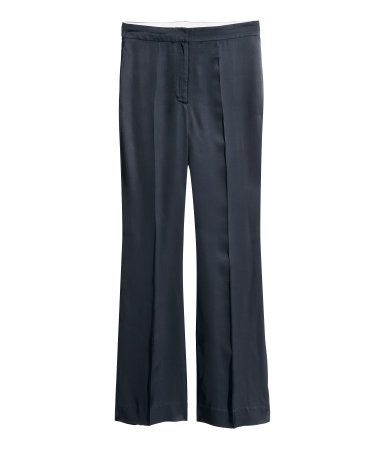 Flared Twill Trousers - length: standard; pattern: plain; waist: mid/regular rise; predominant colour: navy; occasions: casual, evening, creative work; fibres: viscose/rayon - 100%; fit: flares; pattern type: fabric; texture group: other - light to midweight; style: standard; season: a/w 2015; wardrobe: basic
