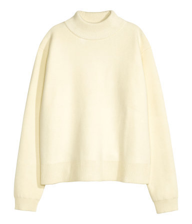 Jumper In A Wool Blend - pattern: plain; neckline: high neck; style: standard; predominant colour: ivory/cream; occasions: casual, creative work; length: standard; fibres: wool - mix; fit: loose; sleeve length: long sleeve; sleeve style: standard; texture group: knits/crochet; pattern type: fabric; season: a/w 2015; wardrobe: basic