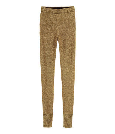 Glittery Trousers - length: standard; pattern: plain; waist detail: elasticated waist; waist: high rise; predominant colour: gold; occasions: casual, evening; texture group: knits/crochet; fit: skinny/tight leg; pattern type: knitted - other; style: standard; fibres: viscose/rayon - mix; embellishment: glitter; season: a/w 2015; wardrobe: highlight; embellishment location: all over