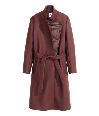 Coat In A Wool Blend - pattern: plain; style: wrap around; collar: standard lapel/rever collar; length: mid thigh; predominant colour: burgundy; occasions: casual, evening, work, creative work; fit: tailored/fitted; fibres: wool - 100%; waist detail: belted waist/tie at waist/drawstring; sleeve length: long sleeve; sleeve style: standard; collar break: medium; pattern type: fabric; texture group: woven bulky/heavy; season: a/w 2015; wardrobe: highlight