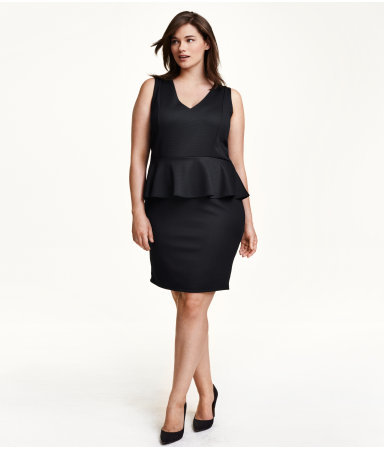 + Peplum Dress - style: shift; neckline: v-neck; fit: tailored/fitted; pattern: plain; sleeve style: sleeveless; waist detail: peplum waist detail; predominant colour: black; occasions: evening, work; length: just above the knee; sleeve length: sleeveless; pattern type: fabric; texture group: other - light to midweight; season: a/w 2015; wardrobe: investment