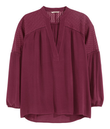 + Wide Blouse - neckline: v-neck; pattern: plain; style: blouse; predominant colour: burgundy; occasions: casual, creative work; length: standard; fibres: viscose/rayon - 100%; fit: loose; sleeve length: 3/4 length; sleeve style: standard; texture group: crepes; pattern type: fabric; season: a/w 2015; wardrobe: highlight