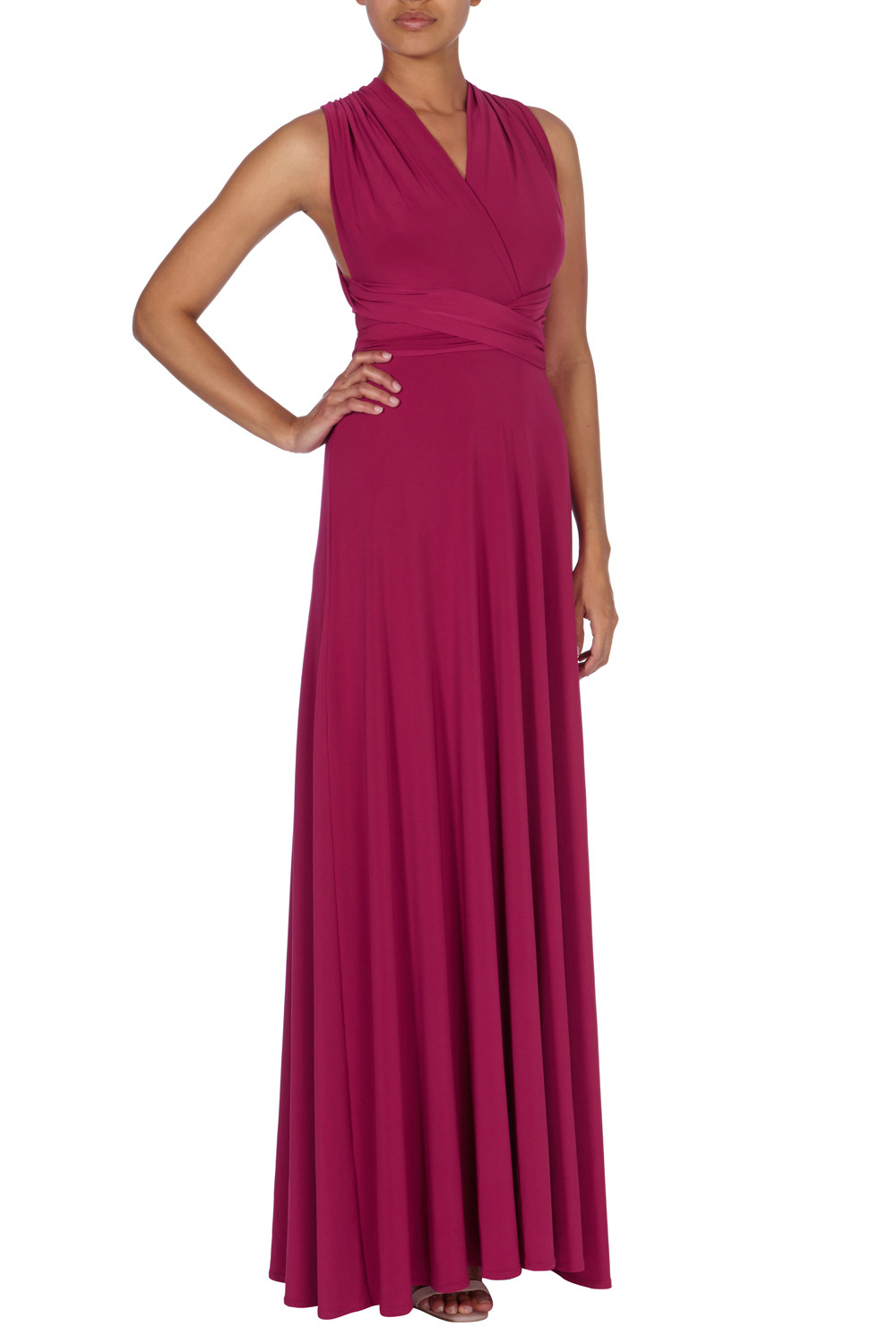 Corwin Multi Tie Dress - neckline: v-neck; pattern: plain; sleeve style: sleeveless; style: maxi dress; length: ankle length; predominant colour: hot pink; occasions: evening; fit: fitted at waist & bust; fibres: polyester/polyamide - stretch; hip detail: soft pleats at hip/draping at hip/flared at hip; sleeve length: sleeveless; pattern type: fabric; texture group: jersey - stretchy/drapey; season: a/w 2015