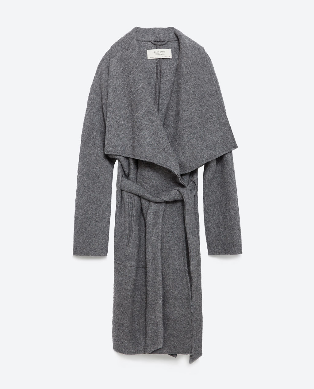 Wool Coat - pattern: plain; collar: wide lapels; fit: loose; length: on the knee; style: wrap around; predominant colour: mid grey; occasions: casual, creative work; waist detail: belted waist/tie at waist/drawstring; sleeve length: long sleeve; sleeve style: standard; collar break: low/open; pattern type: fabric; texture group: woven bulky/heavy; fibres: viscose/rayon - mix; season: a/w 2015; trends: warm and fuzzy; wardrobe: basic