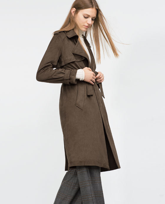 Suede Effect Trench Coat - pattern: plain; style: trench coat; length: on the knee; collar: standard lapel/rever collar; predominant colour: chocolate brown; occasions: casual, work, creative work; fit: tailored/fitted; fibres: polyester/polyamide - 100%; sleeve length: long sleeve; sleeve style: standard; collar break: medium; pattern type: fabric; texture group: suede; season: a/w 2015; wardrobe: highlight