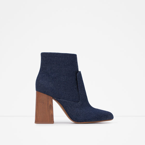 High Heel Denim Ankle Boots - predominant colour: navy; occasions: casual, creative work; material: fabric; heel height: high; heel: block; toe: round toe; boot length: ankle boot; style: standard; finish: plain; pattern: plain; season: a/w 2015; wardrobe: highlight