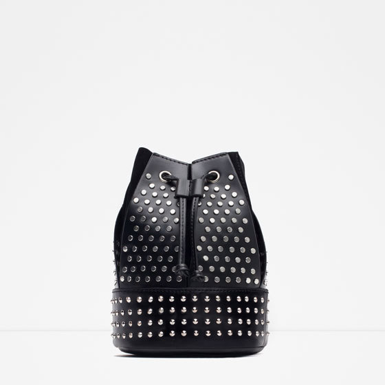 Studded Messenger Bag - predominant colour: black; occasions: casual, creative work; style: messenger; length: shoulder (tucks under arm); size: small; material: faux leather; embellishment: studs; pattern: plain; finish: plain; season: a/w 2015; wardrobe: highlight