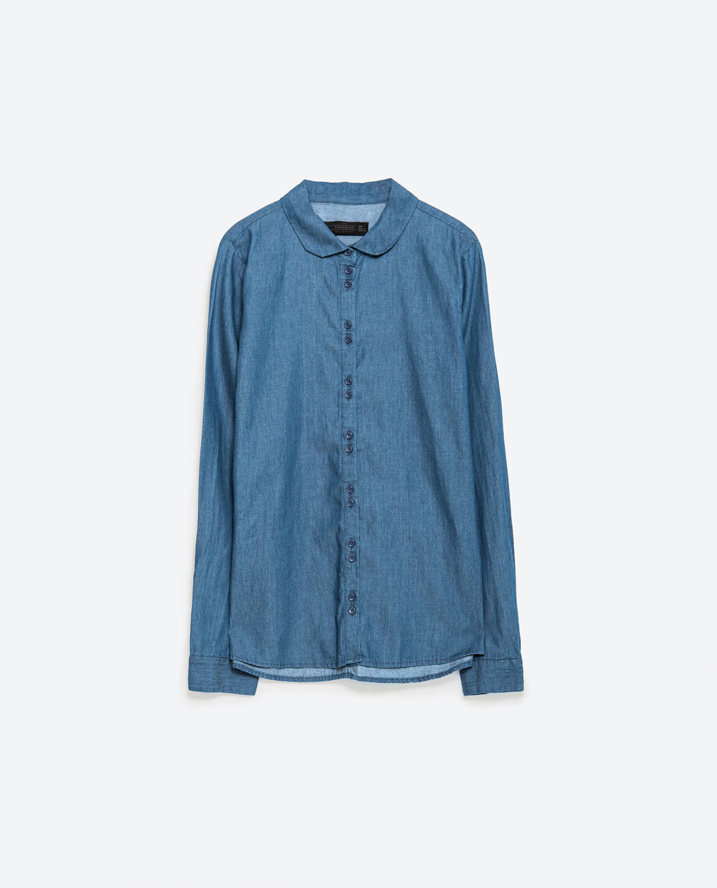 Denim Shirt - neckline: shirt collar/peter pan/zip with opening; pattern: plain; style: shirt; predominant colour: denim; occasions: casual; length: standard; fibres: cotton - stretch; fit: straight cut; sleeve length: long sleeve; sleeve style: standard; texture group: denim; pattern type: fabric; season: a/w 2015; wardrobe: basic