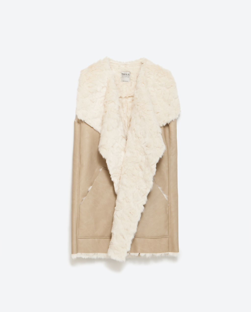 Gilet - sleeve style: sleeveless; style: gilet; collar: shawl/waterfall; length: below the bottom; secondary colour: ivory/cream; predominant colour: camel; occasions: casual, creative work; fit: straight cut (boxy); fibres: viscose/rayon - 100%; sleeve length: sleeveless; collar break: low/open; pattern type: fabric; pattern: colourblock; texture group: sheepskin; season: a/w 2015