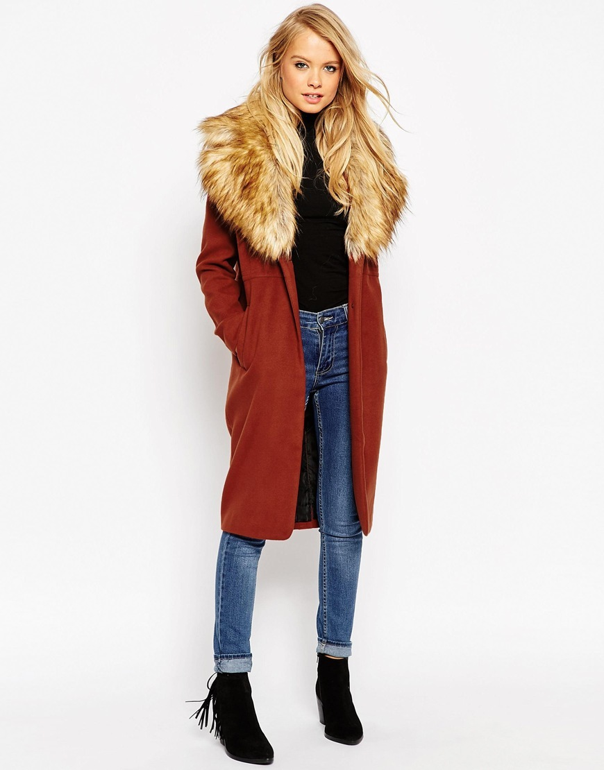 Coat With Oversized Faux Fur Collar Ginger - pattern: plain; style: single breasted; length: on the knee; predominant colour: terracotta; secondary colour: camel; occasions: casual, creative work; fit: straight cut (boxy); fibres: wool - mix; hip detail: added detail/embellishment at hip; sleeve length: long sleeve; sleeve style: standard; collar: fur; collar break: low/open; pattern type: fabric; texture group: woven bulky/heavy; embellishment: fur; season: a/w 2015