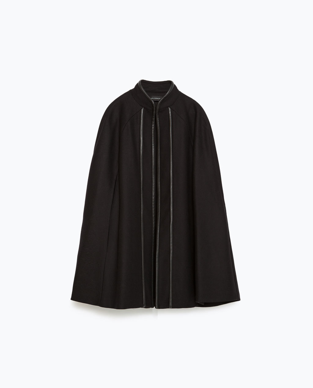 Contrasting Piping Cape - pattern: plain; length: below the bottom; fit: loose; style: cape; collar: high neck; predominant colour: black; occasions: casual; fibres: wool - mix; sleeve length: long sleeve; collar break: high; pattern type: fabric; texture group: woven bulky/heavy; sleeve style: cape/poncho sleeve; season: a/w 2015; wardrobe: highlight