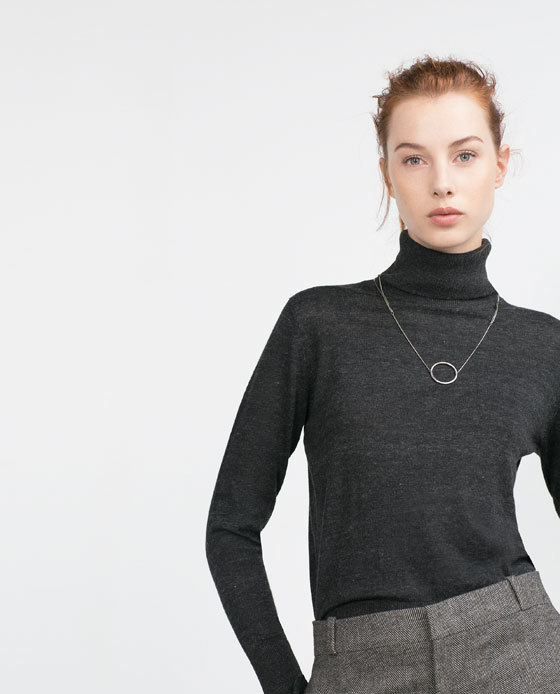 High Neck Sweater - pattern: plain; neckline: roll neck; style: standard; predominant colour: charcoal; occasions: casual; length: standard; fibres: polyester/polyamide - 100%; fit: standard fit; sleeve length: long sleeve; sleeve style: standard; texture group: knits/crochet; pattern type: knitted - fine stitch; season: a/w 2015