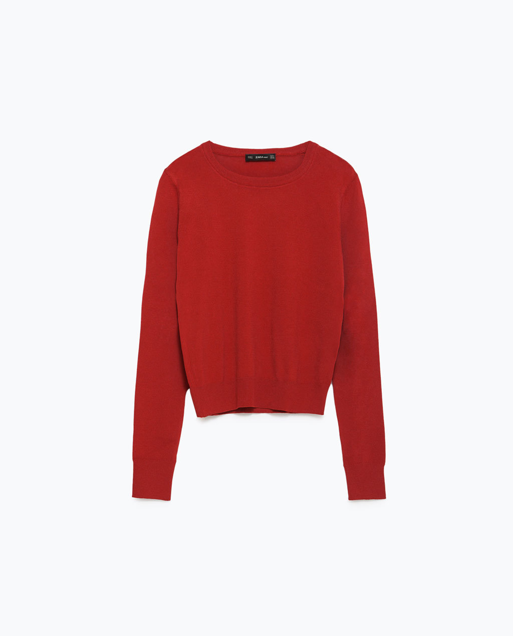 Cropped Sweater - pattern: plain; style: standard; predominant colour: true red; occasions: casual; length: standard; fit: standard fit; neckline: crew; sleeve length: long sleeve; sleeve style: standard; texture group: knits/crochet; pattern type: fabric; fibres: viscose/rayon - mix; season: a/w 2015; wardrobe: highlight