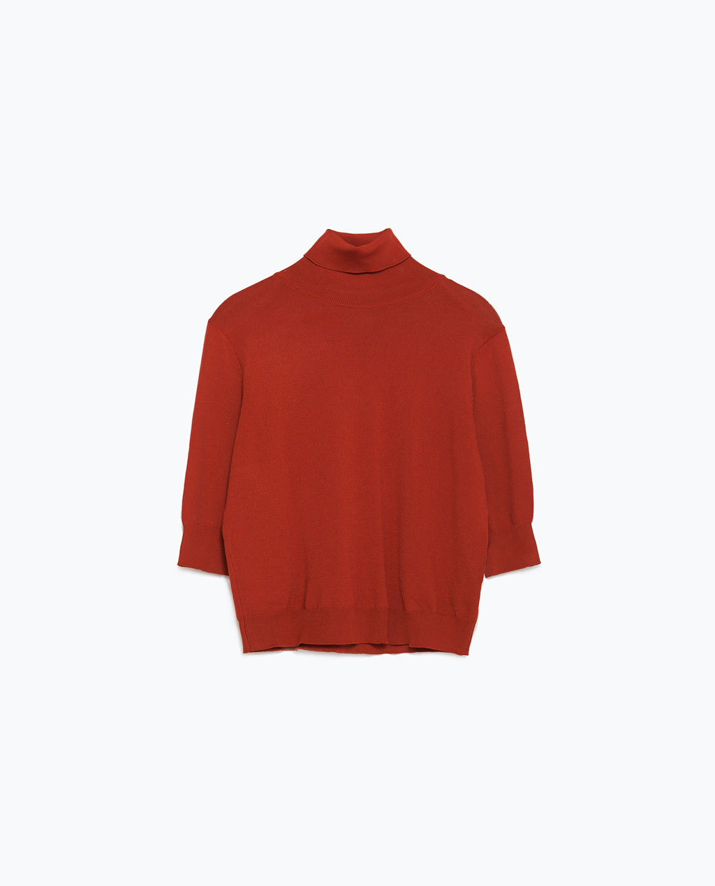Cropped Sweater - pattern: plain; length: cropped; neckline: roll neck; style: standard; predominant colour: true red; occasions: casual, creative work; fit: standard fit; sleeve length: 3/4 length; sleeve style: standard; texture group: knits/crochet; pattern type: fabric; fibres: viscose/rayon - mix; season: a/w 2015; wardrobe: highlight