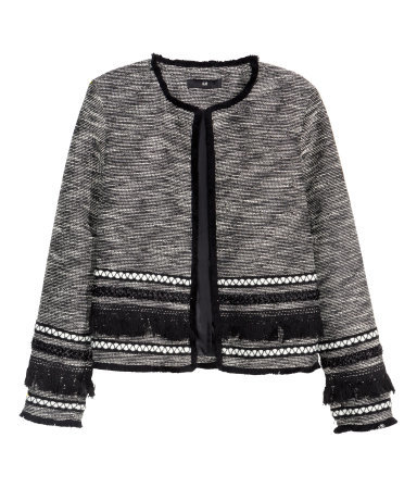Fringed Jacket - collar: round collar/collarless; style: boxy; predominant colour: mid grey; secondary colour: black; occasions: casual, evening, creative work; length: standard; fit: straight cut (boxy); fibres: polyester/polyamide - mix; sleeve length: long sleeve; sleeve style: standard; collar break: high; pattern type: fabric; texture group: woven light midweight; embellishment: fringing; pattern: marl; pattern size: big & busy (top); multicoloured: multicoloured; season: a/w 2015; wardrobe: highlight; embellishment location: hip, sleeve/cuff