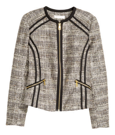 Fitted Jacket - style: bolero/shrug; collar: round collar/collarless; pattern: herringbone/tweed; predominant colour: light grey; secondary colour: black; occasions: casual, evening, creative work; length: standard; fit: straight cut (boxy); fibres: polyester/polyamide - mix; sleeve length: long sleeve; sleeve style: standard; collar break: high; pattern type: fabric; texture group: woven light midweight; pattern size: big & busy (top); season: a/w 2015; wardrobe: highlight; embellishment location: bust