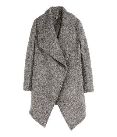 Bouclé Coat In A Wool Blend - pattern: plain; collar: wide lapels; fit: loose; style: single breasted; length: mid thigh; predominant colour: mid grey; occasions: casual, work, creative work; fibres: wool - mix; sleeve length: long sleeve; sleeve style: standard; collar break: low/open; pattern type: knitted - other; texture group: woven bulky/heavy; season: a/w 2015; wardrobe: highlight; embellishment location: bust