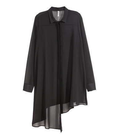 Asymmetric Chiffon Shirt - neckline: shirt collar/peter pan/zip with opening; pattern: plain; length: below the bottom; style: shirt; predominant colour: black; occasions: casual, evening, creative work; fibres: polyester/polyamide - 100%; fit: loose; sleeve length: long sleeve; sleeve style: standard; texture group: sheer fabrics/chiffon/organza etc.; pattern type: fabric; season: a/w 2015
