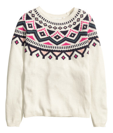 Jacquard Knit Jumper - style: standard; predominant colour: ivory/cream; secondary colour: hot pink; occasions: casual; length: standard; fibres: cotton - mix; fit: standard fit; neckline: crew; pattern: fairisle; sleeve length: long sleeve; sleeve style: standard; texture group: knits/crochet; pattern type: knitted - fine stitch; pattern size: standard; multicoloured: multicoloured; season: a/w 2015