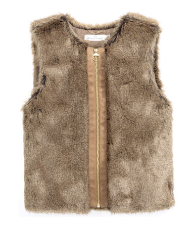 Faux Fur Waistcoat - pattern: plain; sleeve style: sleeveless; predominant colour: taupe; occasions: casual, creative work; length: standard; fit: straight cut (boxy); style: waistcoat; collar: shirt collar/peter pan/zip with opening; sleeve length: sleeveless; texture group: fur; collar break: high; pattern type: fabric; season: a/w 2015; wardrobe: highlight
