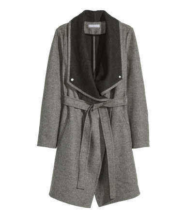 Coat In A Wool Blend - pattern: plain; collar: wide lapels; fit: loose; length: on the knee; style: wrap around; predominant colour: mid grey; occasions: casual; waist detail: belted waist/tie at waist/drawstring; sleeve length: long sleeve; sleeve style: standard; collar break: low/open; texture group: woven bulky/heavy; season: a/w 2015; wardrobe: basic