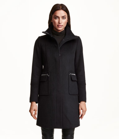 Coat In A Wool Blend - pattern: plain; collar: funnel; style: single breasted; length: mid thigh; predominant colour: black; occasions: casual, creative work; fit: tailored/fitted; sleeve length: long sleeve; sleeve style: standard; collar break: high; texture group: woven bulky/heavy; season: a/w 2015; wardrobe: highlight; embellishment location: bust