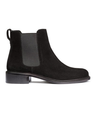 Suede Chelsea Boots - predominant colour: black; occasions: casual; material: suede; heel height: flat; heel: standard; toe: round toe; boot length: ankle boot; finish: plain; pattern: plain; style: chelsea; season: a/w 2015; wardrobe: basic