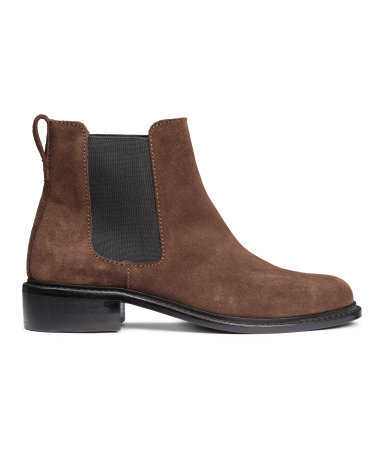 Suede Chelsea Boots - predominant colour: chocolate brown; occasions: casual; material: suede; heel height: flat; heel: standard; toe: round toe; boot length: ankle boot; finish: plain; pattern: colourblock; style: chelsea; season: a/w 2015; wardrobe: highlight