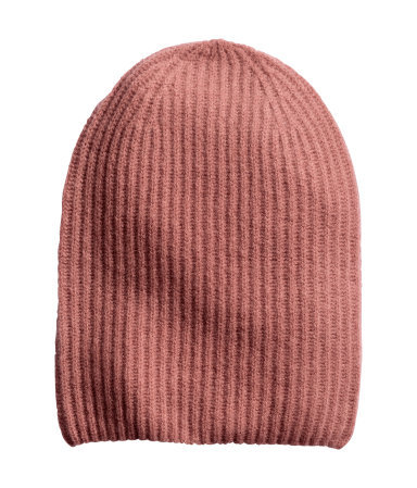 Hat In A Cashmere Blend - predominant colour: camel; occasions: casual; style: beanie; size: standard; pattern: plain; secondary colour: dusky pink; material: cashmere; season: a/w 2015; wardrobe: investment