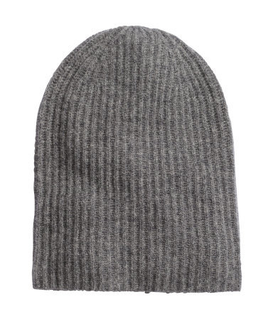 Hat In A Cashmere Blend - predominant colour: charcoal; occasions: casual; style: beanie; size: standard; pattern: plain; material: cashmere; season: a/w 2015; wardrobe: investment