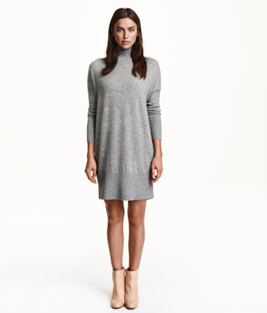 Cashmere Jumper - style: jumper dress; length: mid thigh; fit: loose; pattern: plain; neckline: roll neck; predominant colour: light grey; occasions: casual, creative work; fibres: cashmere - 100%; sleeve length: long sleeve; sleeve style: standard; texture group: knits/crochet; pattern type: knitted - fine stitch; season: a/w 2015; wardrobe: basic