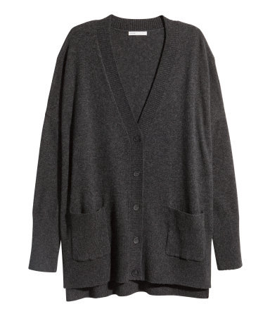 Cashmere Cardigan - neckline: v-neck; pattern: plain; predominant colour: charcoal; occasions: casual, creative work; length: standard; style: standard; fit: loose; fibres: cashmere - 100%; sleeve length: long sleeve; sleeve style: standard; texture group: knits/crochet; pattern type: knitted - fine stitch; season: a/w 2015; wardrobe: investment