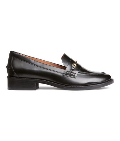 Leather Loafers - predominant colour: black; occasions: casual, creative work; material: leather; heel height: flat; embellishment: snaffles; toe: round toe; style: loafers; finish: plain; pattern: plain; season: a/w 2015; wardrobe: basic
