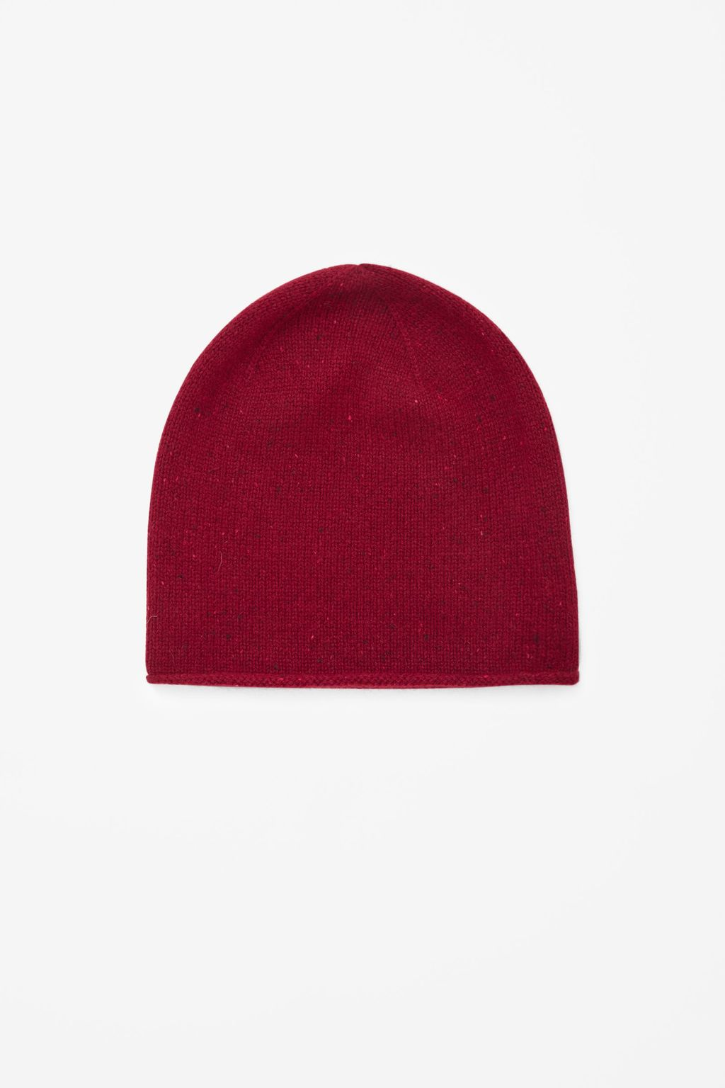 Speckled Cashmere Hat - occasions: casual; style: beanie; size: standard; pattern: plain; material: cashmere; predominant colour: raspberry; season: a/w 2015; wardrobe: highlight