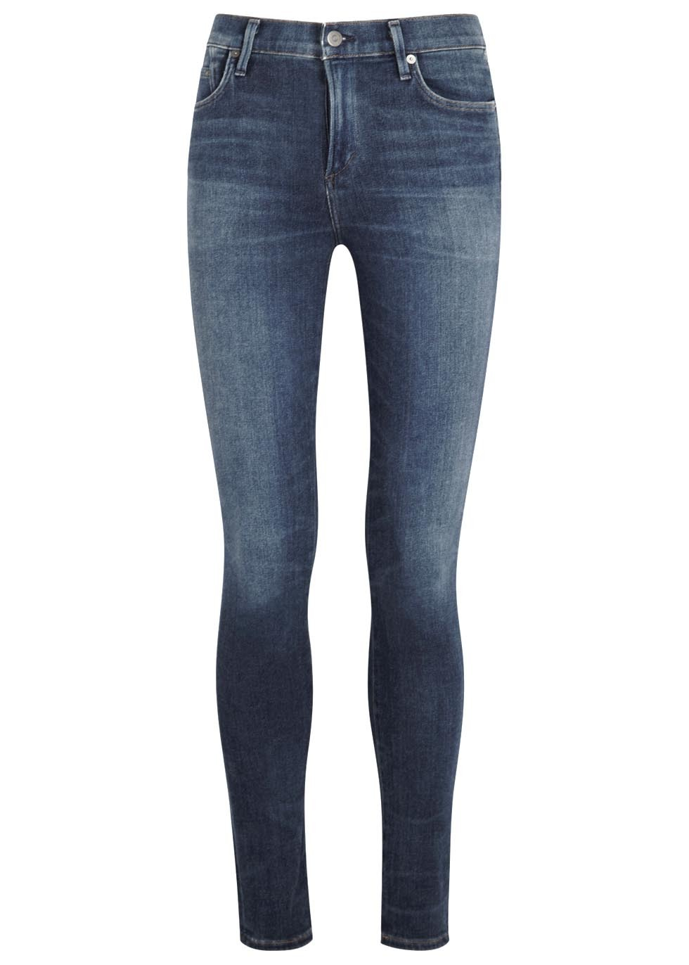 Rocket Sculpt Blue Skinny Jeans Size W29 - style: skinny leg; length: standard; pattern: plain; waist: high rise; pocket detail: traditional 5 pocket; predominant colour: denim; occasions: casual; fibres: cotton - stretch; jeans detail: whiskering, shading down centre of thigh; texture group: denim; pattern type: fabric; season: a/w 2015; wardrobe: basic