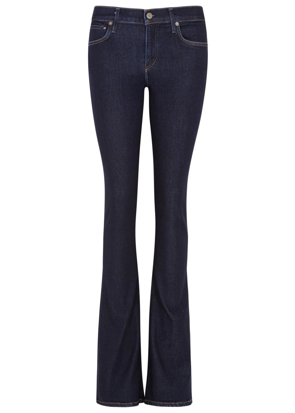 Emannuelle Indigo Flared Jeans - style: flares; length: standard; pattern: plain; pocket detail: traditional 5 pocket; waist: mid/regular rise; predominant colour: navy; occasions: casual, creative work; fibres: cotton - stretch; jeans detail: dark wash; texture group: denim; pattern type: fabric; season: a/w 2015; wardrobe: basic