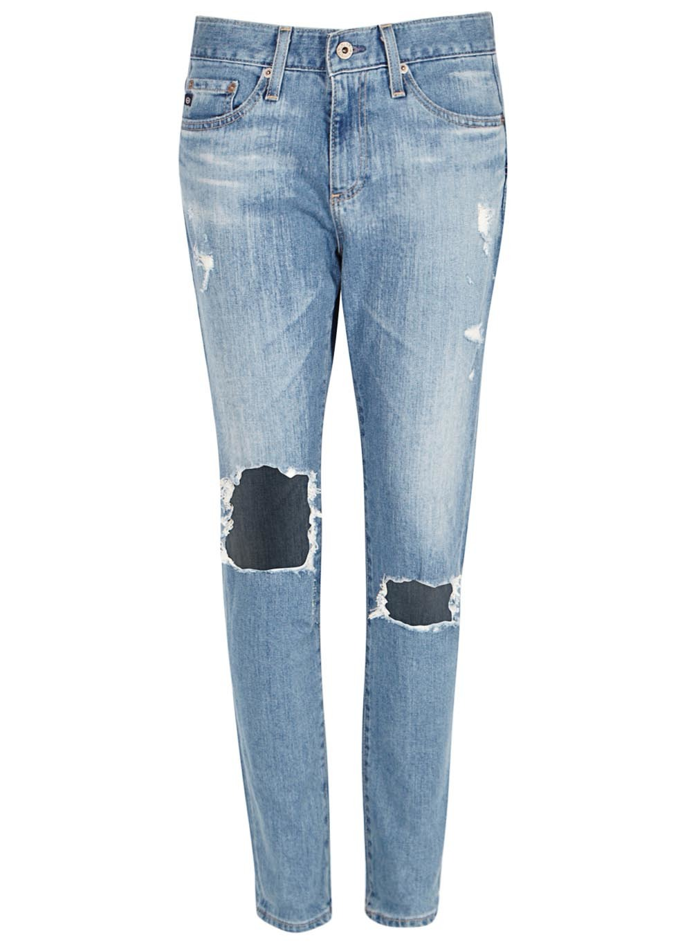 Beau Blue Distressed Slim Boyfriend Jeans - length: standard; pattern: plain; pocket detail: traditional 5 pocket; style: slim leg; waist: mid/regular rise; predominant colour: denim; occasions: casual; fibres: cotton - stretch; jeans detail: shading down centre of thigh, washed/faded, rips; texture group: denim; pattern type: fabric; season: a/w 2015