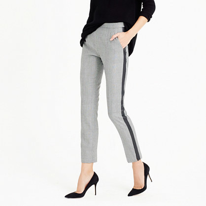 Petite Martie Pant With Tux Stripe In Glen Plaid - pattern: striped; pocket detail: pockets at the sides; waist: mid/regular rise; predominant colour: ivory/cream; secondary colour: black; occasions: work, creative work; length: ankle length; fibres: wool - mix; fit: slim leg; pattern type: fabric; texture group: woven light midweight; style: standard; pattern size: light/subtle (bottom); season: a/w 2015