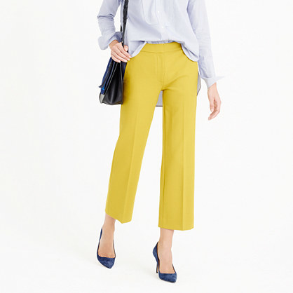 Tall Patio Pant In Bi Stretch Wool - pattern: plain; style: capri; waist: mid/regular rise; predominant colour: yellow; occasions: casual, creative work; length: calf length; fibres: wool - mix; fit: straight leg; pattern type: fabric; texture group: other - light to midweight; season: a/w 2015; wardrobe: highlight