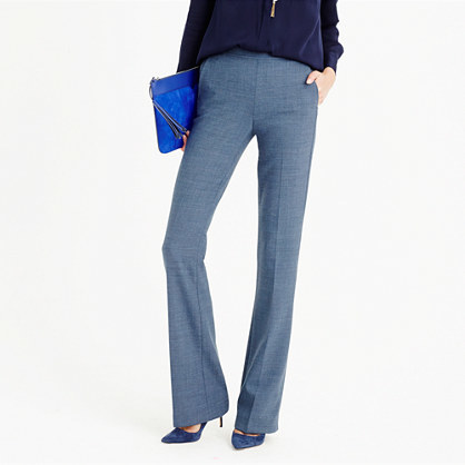 Full Length Pant In Bi Stretch Wool - length: standard; pattern: plain; waist: high rise; predominant colour: denim; fibres: wool - mix; fit: bootcut; pattern type: fabric; texture group: woven light midweight; style: standard; occasions: creative work; season: a/w 2015; wardrobe: highlight