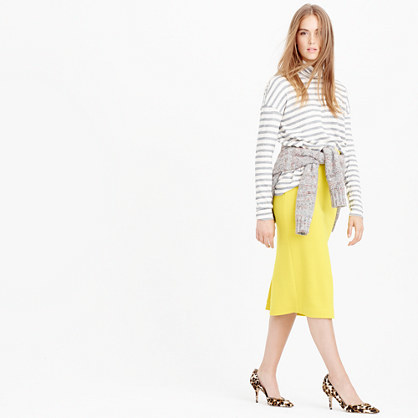 Sweater Skirt - length: below the knee; pattern: plain; style: pencil; fit: body skimming; waist: mid/regular rise; predominant colour: yellow; occasions: casual, creative work; fibres: wool - 100%; pattern type: knitted - fine stitch; texture group: woven light midweight; season: a/w 2015; wardrobe: highlight