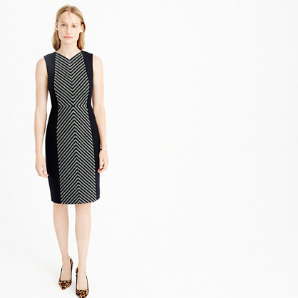 Tall Striped Tweed Sheath Dress - style: shift; neckline: v-neck; fit: tailored/fitted; sleeve style: sleeveless; secondary colour: mid grey; predominant colour: black; occasions: evening; length: on the knee; fibres: wool - mix; sleeve length: sleeveless; pattern type: fabric; pattern size: light/subtle; pattern: colourblock; texture group: tweed - light/midweight; multicoloured: multicoloured; season: a/w 2015; wardrobe: event