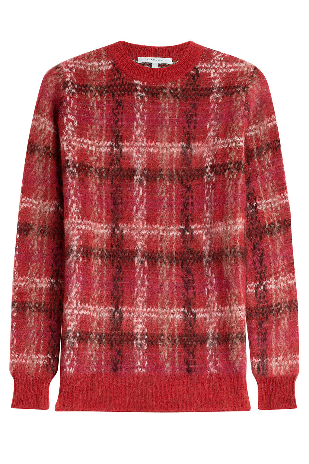 Printed Pullover With Alpaca And Mohair Red - pattern: checked/gingham; style: standard; predominant colour: true red; secondary colour: black; occasions: casual, creative work; length: standard; fibres: acrylic - mix; fit: standard fit; neckline: crew; sleeve length: long sleeve; sleeve style: standard; texture group: knits/crochet; pattern type: knitted - other; multicoloured: multicoloured; season: a/w 2015