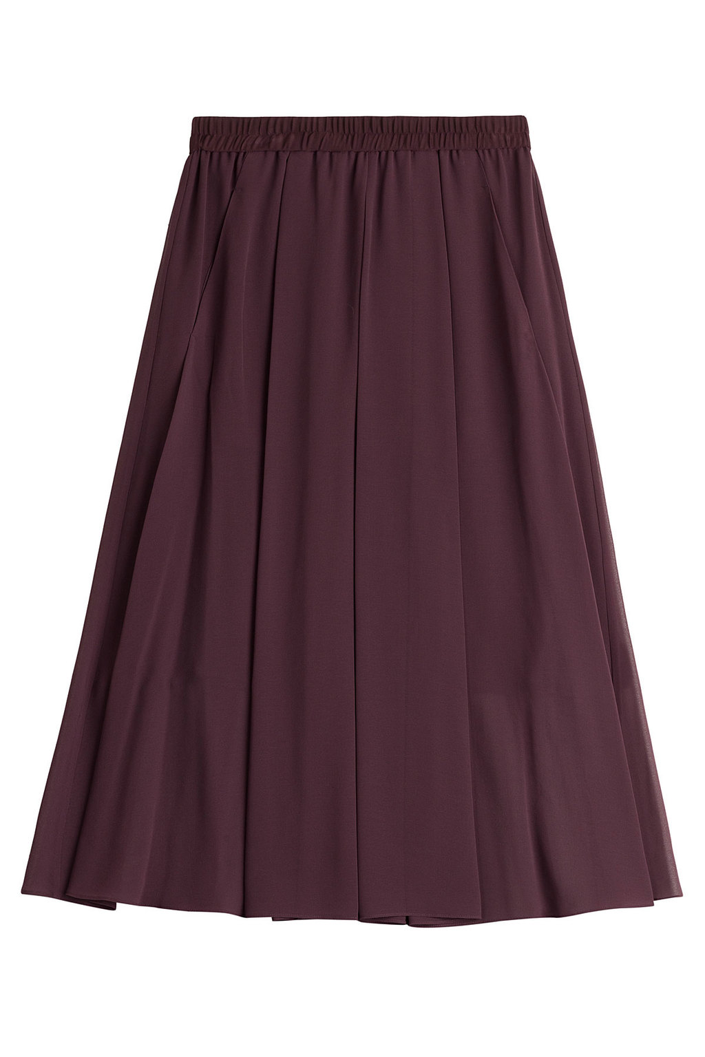 Midi Skirt - length: calf length; pattern: plain; fit: loose/voluminous; style: pleated; waist detail: elasticated waist; waist: mid/regular rise; predominant colour: purple; occasions: casual, evening, creative work; fibres: polyester/polyamide - 100%; hip detail: adds bulk at the hips; texture group: sheer fabrics/chiffon/organza etc.; pattern type: fabric; season: a/w 2015; wardrobe: highlight