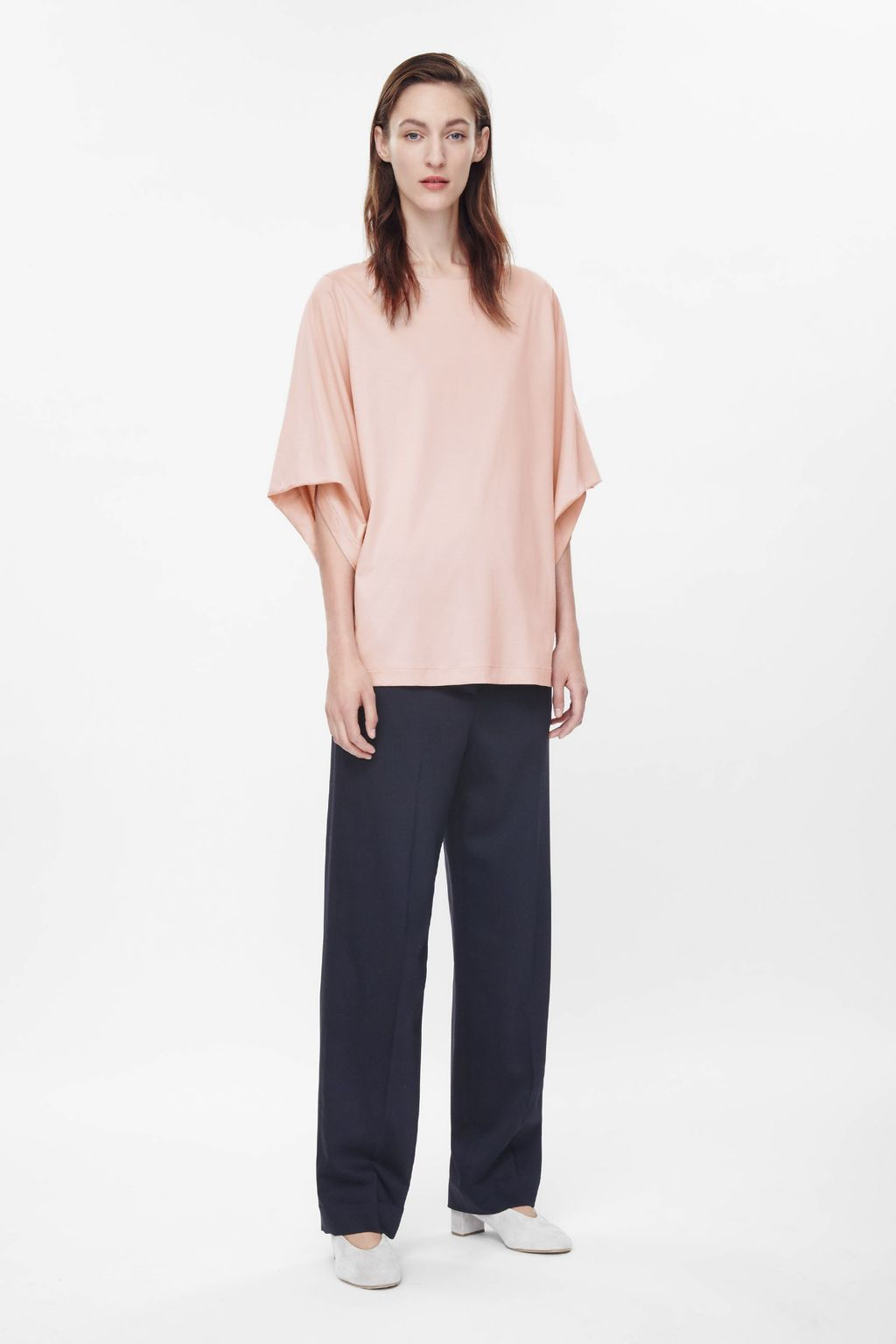 Draped Sleeve Jersey Top - neckline: round neck; sleeve style: dolman/batwing; pattern: plain; predominant colour: nude; occasions: casual, creative work; length: standard; style: top; fibres: cotton - 100%; fit: loose; sleeve length: 3/4 length; pattern type: fabric; texture group: jersey - stretchy/drapey; season: a/w 2015; trends: pink aw 15; wardrobe: basic
