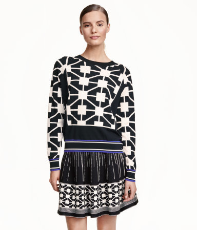 Jacquard Knit Jumper - style: standard; secondary colour: ivory/cream; predominant colour: black; occasions: casual; length: standard; fibres: viscose/rayon - stretch; fit: standard fit; neckline: crew; sleeve length: long sleeve; sleeve style: standard; texture group: knits/crochet; pattern type: fabric; pattern size: standard; pattern: patterned/print; season: a/w 2015; wardrobe: highlight